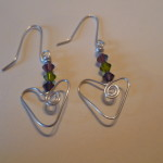20120214 Wire Heart Ear rings with Swarovski Crystals