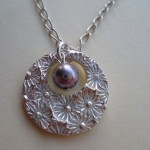 20120809 Lavender Pearl and Flower Textured Pendant